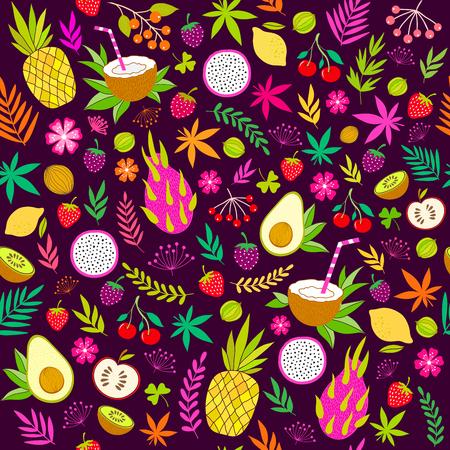 Beautiful tropical seamless pattern Illusztráció