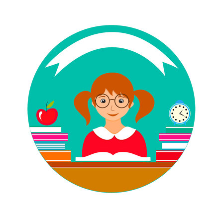 Cute school girl icon