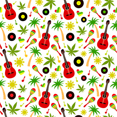 Reggae seamless vector pattern Illustration