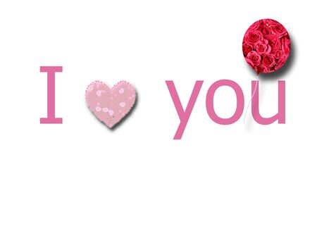 I love you pink sign with heart, flowers in shape of balloon on white background. Valentines day greeting card. Valentines, I love you concept.