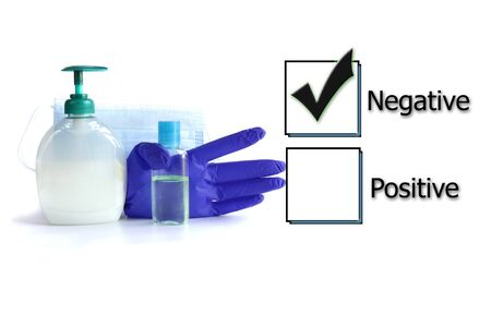 Ticked box with negative test results for COVID-19 virus and protective accessories against virus on white background. Testing result, blood swab test, vaccination, coronavirus test concept