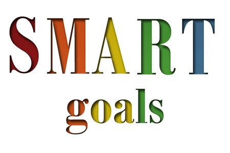 Words SMART Goals on white background, acronym. Planning, business, marketing, strategy, evaluation and personal development concept. Presentation, mock up