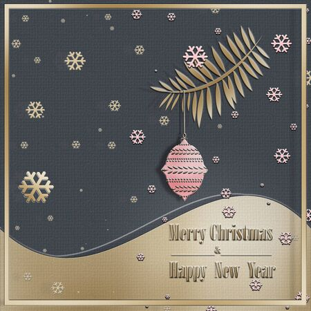 Peaceful trendy Christmas greeting card. Calm night on grey pink gold background, confetti, fire brunch, snowflakes and ball. Text Merry Christmas Happy New Year. Festive Pattern, Wallpaper. 3D