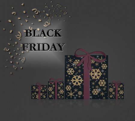 Stylish Black Friday text and gift boxes with bow on dark background. Illustration. Copy space, banner. Stockfoto