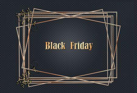 Gold glitter frames on black pattern background. Golden text Black Friday. 3D Illustration. Sales concept