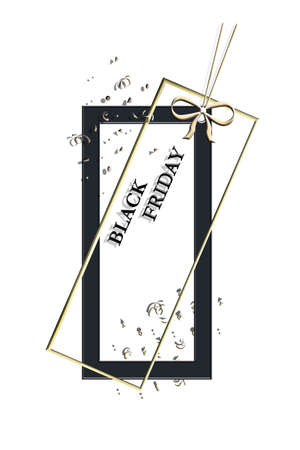 Black Friday sale price tag shape of gold and black frames on white background with bow and confetti. Label. 3D Illustration. Copy space