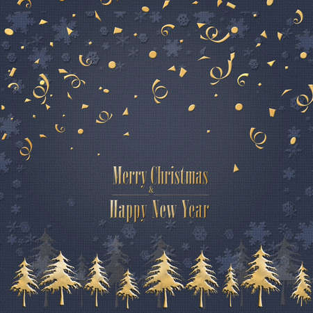 Elegant stylish Christmas card on blue background with tree, gold text Merry Christmas and Happy New Year. Minimalist template design for greeting cards, banner, marketing, copy space. 3D illustration