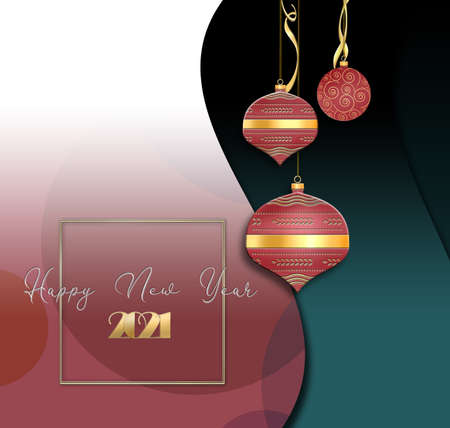 Christmas 2021 New Year decor with chinese style red balls lanterns, text Happy New Year and gold digit 2021 on green red background. 3D illustration