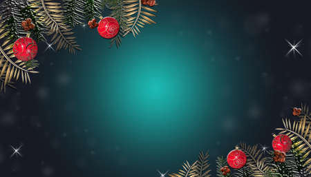 Christmas 2021 New Year dark background, Xmas dark board framed with realistic season Christmas decorations, space for a text, top view, flat lay, copy space. 3D render Stock fotó