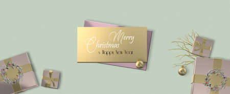 Luxury Christmas background. Realistic pink gold Xmas gift boxes with floral wreath and gold decoration on pastel green background. Mock up, copy space, Text Merry Christmas Happy New Year