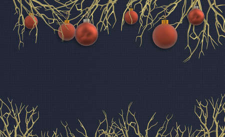 Christmas background with realistic frosted red balls baubles hanging on gold branches over dark blue background. 3D illustration, Place for text, invitaiton, festive card