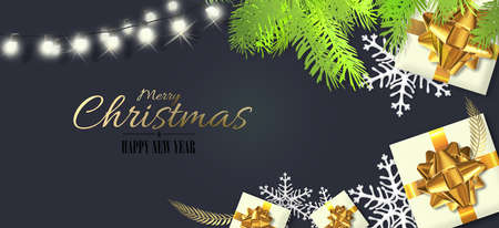 Christmas design with Xmas gift boxes in realistic 3D illustration. Xmas gift box, golden bow, Xmas fir, gold shiny text Merry Christmas Happy New Year on dark blue background. Horizontal card, header 스톡 콘텐츠