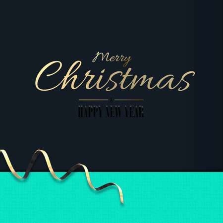Minimalist Christmas holiday design. Golden serpentine, gold text Merry Christmas Happy New Year on turquoise blue background. 3D illustration, Business invitations, greetings, elegant holiday card 版權商用圖片
