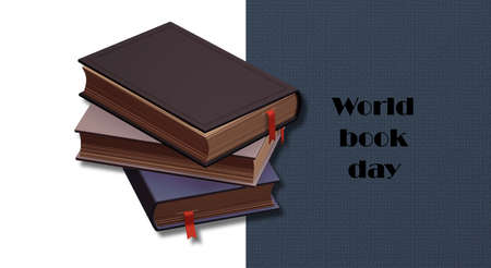 World book day with books on blue white background, text World Day Book. Place for text, copy space. 3D illustration