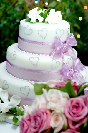 Shot of Wedding cake and decoration and flower Stock Photo