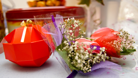 Shot of props & accessories for a chinese wedding Stock Photo