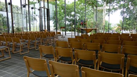 Interior wide shot of a funeral chapel