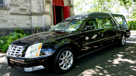 Shot of a hearse for funeral service Editorial