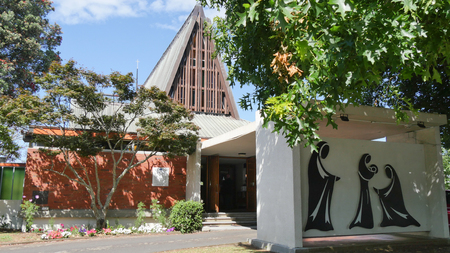 Exterior wide shot of a funeral chapel Stock Photo