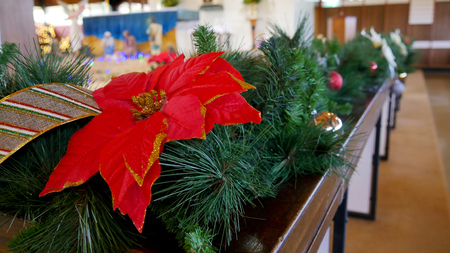 Christmas celebration and decoration in a church