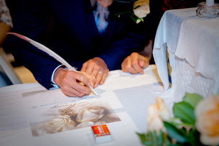 signing of marriage register or guest book