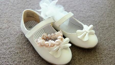 closeup shot of the bride wedding shoe Stock Photo
