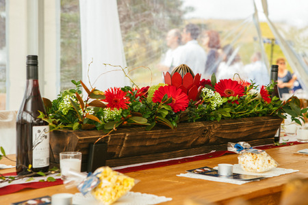 Shot of wedding reception venue and dinner table decoration