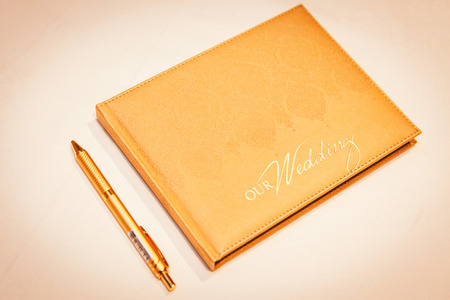 signing of marriage register or guest book Stock Photo