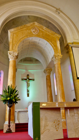 shot of religious christian or catholic chapel and altar for worshippers 報道画像