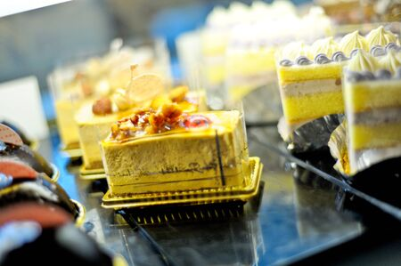 shot of delicious dessert, candies, sweets & fruits