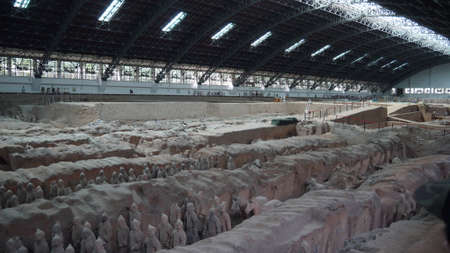 XiAn, China, 1st of Jan 2020, China Emperor Qin museum site with terracotta army