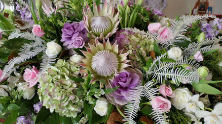 Shot of flowers used for a funeral service due to the Increasing death from Corona virus and Covid 19 pandemic outbreak Stockfoto