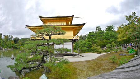 Kyoto, Japan, 1st Jan 2020, inside the Kinkakuji, Golden Pavilion, a Zen temple in northern Kyoto where floors are  covered in gold leaf