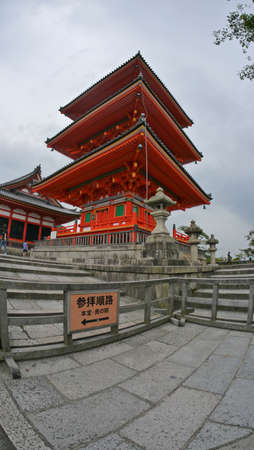 Kyoto, Japan, 1st Jan 2020, inside Kiyomizu-dera, a Buddhist temple in eastern Kyoto, part of the Historic Monuments of Ancient Kyoto UNESCO World Heritage site. Editorial