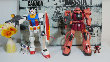 Japanese mechanized action figurines robots and human droids