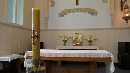 Shot of candle arrangement used in a church