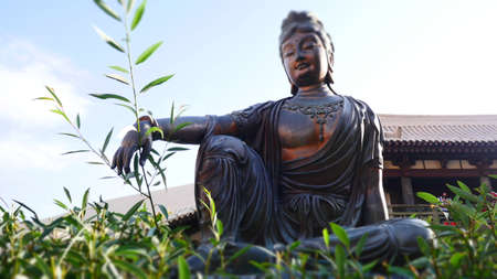bronze buddha found in a peaceful nature garden Standard-Bild