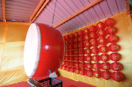 oriental asian big drum make from wood and leather