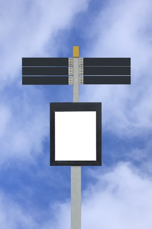 Blank signpost with 7 signs Stock Photo