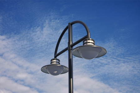 Street lamp on blue sky