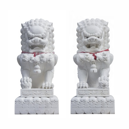 Stone lions isolated on white background Stock Photo - 13492117