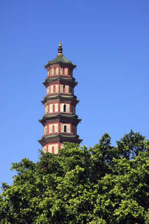Old pagoda against blue sky