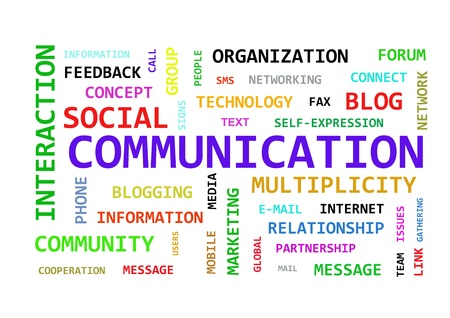 feedback link: Communication keywords diagram Stock Photo