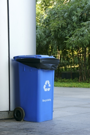 seperation: Blue trash for garbage separation Stock Photo