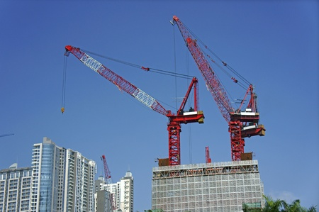 Construction cranes photo