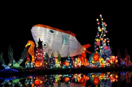 Colorful lanterns of marine lives and submarine in shark shape Stock Photo