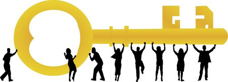 People lifting golden key Vector