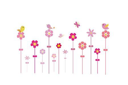 Birds on flowers Stock Vector - 16946835
