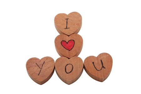 Wooden heart shape blocks with I love you text