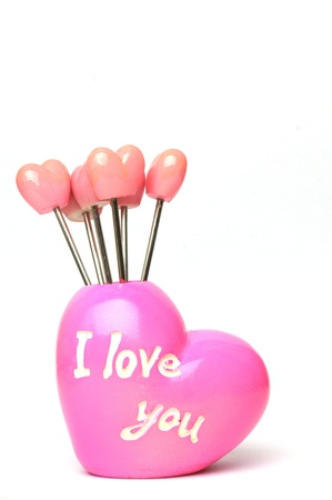 Fruit forks in heart shape holder with I love you text